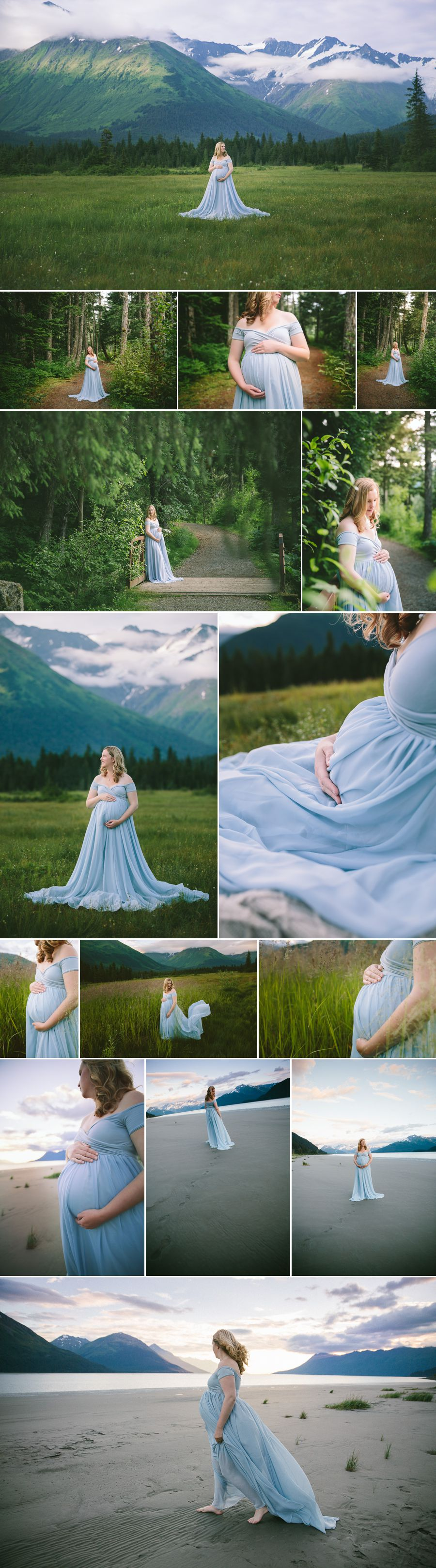 Alaska Pregnancy Photos with Mountains and Beach